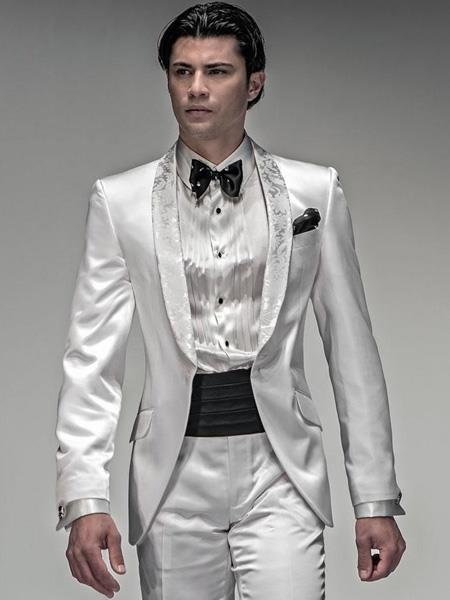 """Shiny White Suit """" Silver Lapel Tuxedo Vested 3 Piece Tux Jacket"""