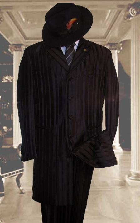 SKU#HIN2059 Shiny Black Shadow Stripe ~ Pinstripe tone on tone Mens Fashion Zoot Suit