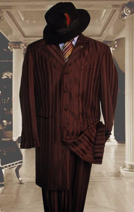 SKU#HIN2059 Shiny Brown And Brown Stripe Ton on Ton Shadow Stripe Mens Fashion Dress Zoot Suits $185