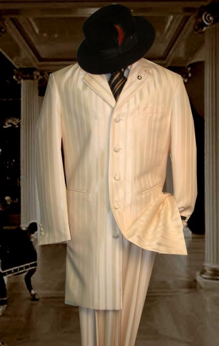 SKU#HIN2059 Shiny Ivory~OFF White~Cream Ton on Ton Shadow Stripe ~ Pinstripe Mens Fashion Zoot Suit $185