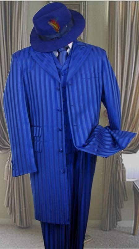SKU#HIN2059 Shiny Shadow Stripe Ton on Ton Shadow Stripe Mens Fashion Dress Zoot Suits $139