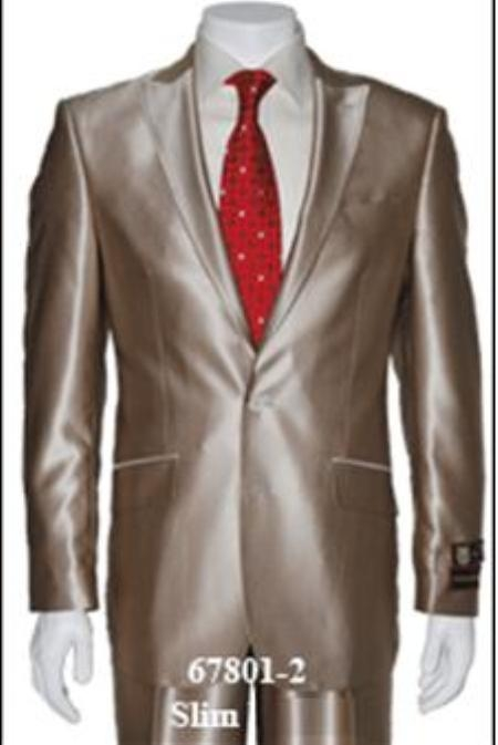 SKU#Shark2 Shiny Sharkskin Flashy Tan~champagne ~ beige~Taupe 2 Button Style Jacket Flat Front Pants Notch Collar
