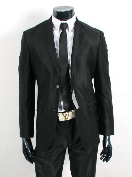 SKU#SH20 Shiny Sharkskin Jet Black 2 Button Style Jacket Flat Front Pants New Style