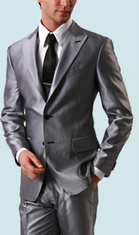 SKU#LAN_SH77  Shiny Sharkskin Silver Gray 2 Button Style Jacket Flat Front Pants New Style 189