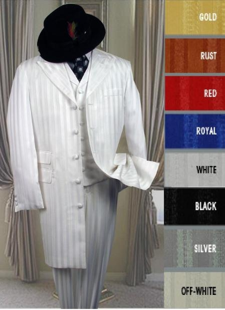 SKU#HIN36V Shiny Ton On Ton Shadow Pinstripe Long Zoot Suit in Many Colors $185