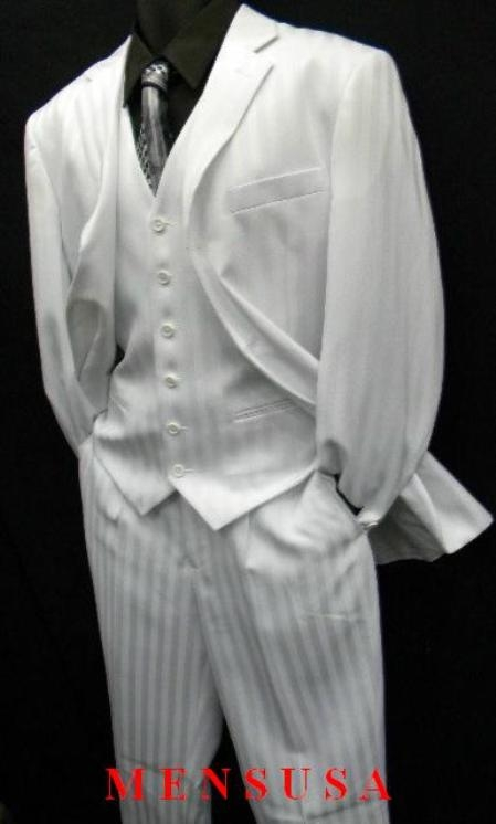 SKU#M048_M067 Shiny White Ton on Ton Shadow Stripe Vested 3 Button Suit Single-breasted $149