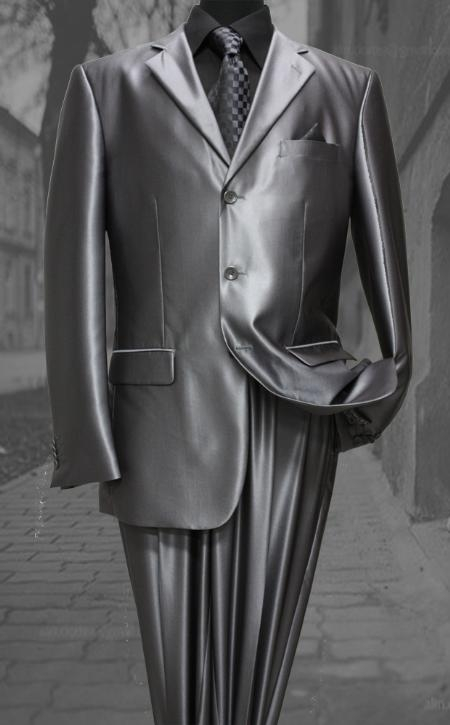 SKU#CE21962 Shiny sharkskin Single Breasted Mens Suit Side-Vented Charcoal $189