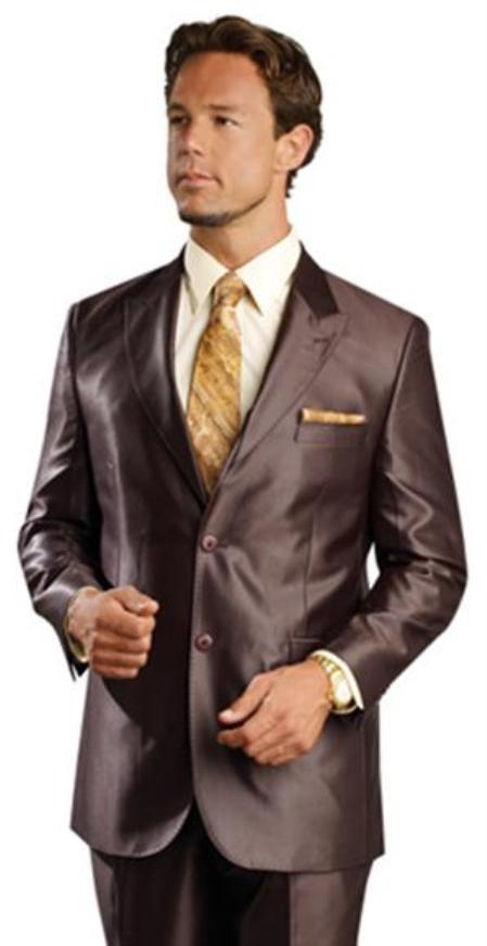 SKU#AG9990 Shiny sharkskin Single Breasted Mens Suit Side-Vented Brown