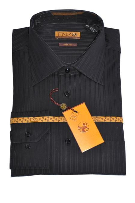 SKU#ER511 Shirt Black Tone on Tone Regular Cuff 61109-1-B $75