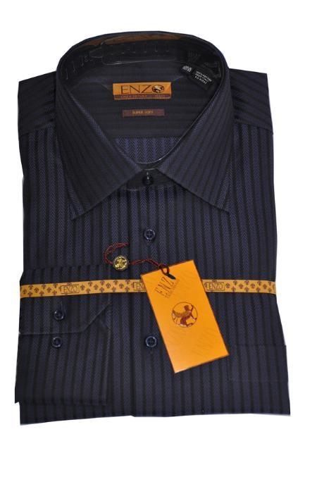 SKU#MK444 Shirt Blue/Black Herringbone Regular Cuff 61108-1-B $75