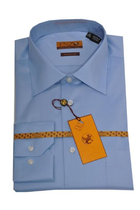 SKU#223 Enzo 100% Cotton Shirt Blue Regular Cuff 61101-2 $55