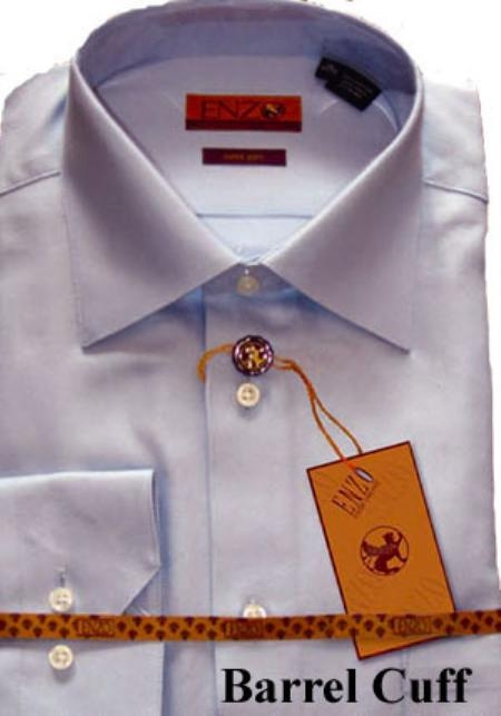 SKU#RY334 Shirt Blue Twill Regular Cuff 61102-2-B $75