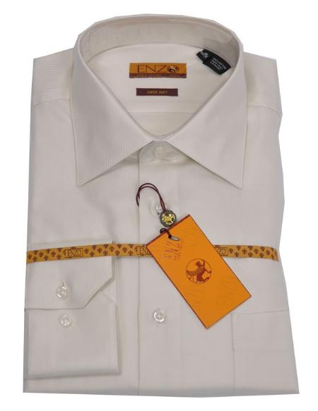 SKU#LK336 Online Discount Dress Lay down Shirt Cream Twill Regular Cuff 61102-3-B $55