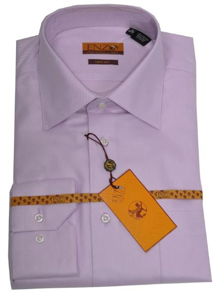 SKU#BV222 Enzo 100% Cotton Shirt Lavender Twill Regular Cuff 61102-4-B $55