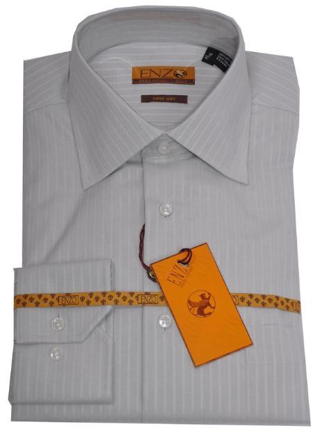 SKU#LP552 Shirt Light Gray Tone on Tone Regular Cuff 62025-1-B $75