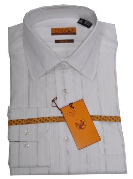SKU#JM711 Shirt White/Black Strip Twill Regular Cuff 62022-1-B $75