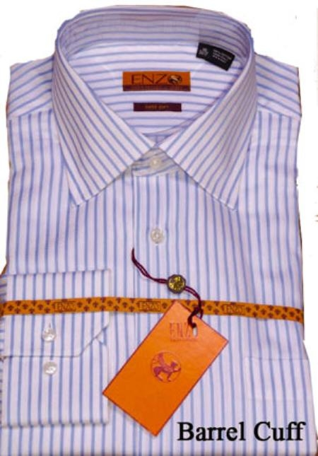 SKU#RE911 Shirt White/Blue Stripe Regular Cuff 62021-1-B $75