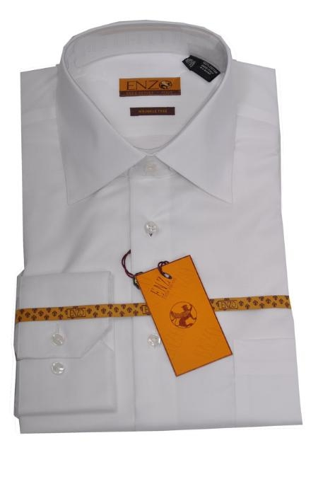 SKU#JH222 Enzo 100% Cotton Shirt White Regular Cuff 61101-1-B $55