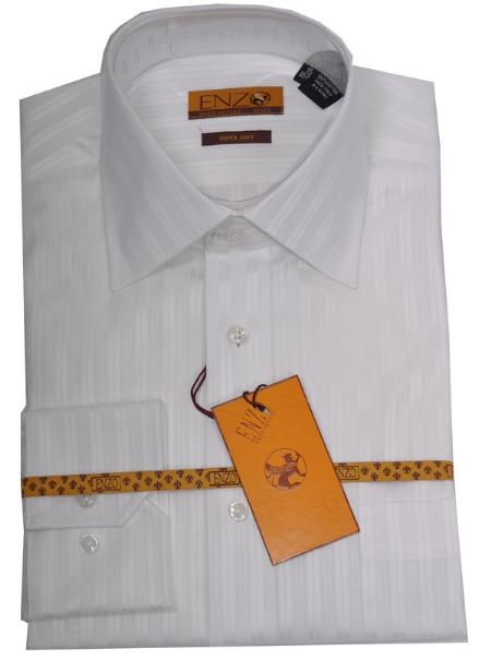 SKU#RU441 Enzo 100% Cotton Shirt White Tone on Tone Regular Cuff 60027-1-B $55