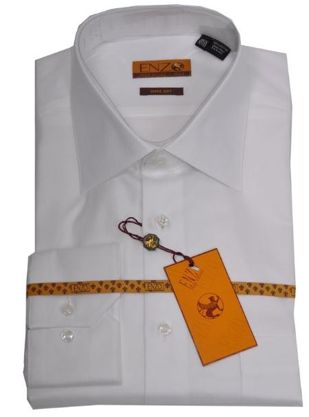 SKU#FR223 Enzo 100% Cotton Shirt White Twill Regular Cuff 61102-1-B $65