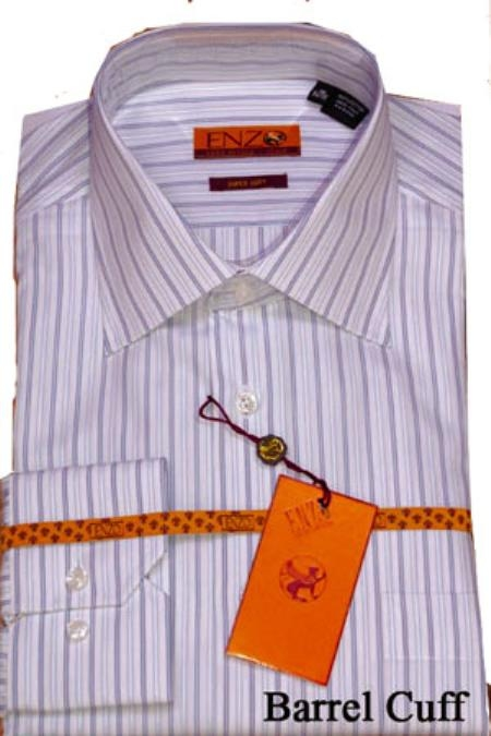 SKU#UK733 Shirt Whte/Blue Stripe Twill Regular Cuff 62026-1-B $950