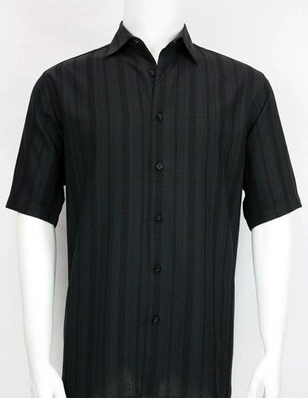 Bassiri stripe Short Sleeve mens Black fashion shirt