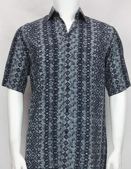 Bassiri Blue button down Short Sleeve diamond pattern mens shirt