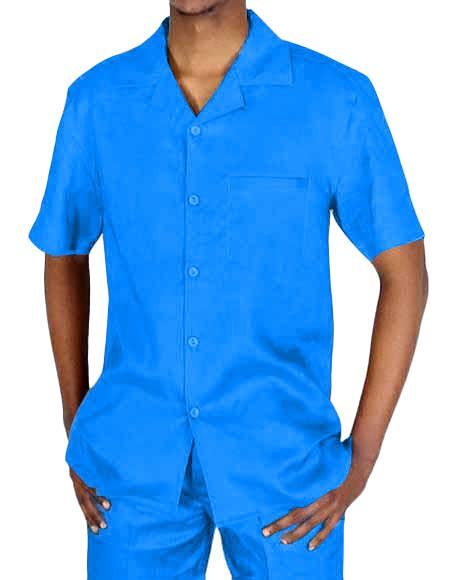 Mens Two Piece Short Sleeve Blue Linen Casual Casual Two Piece Walking Outfit For Sale Pant Sets Suit