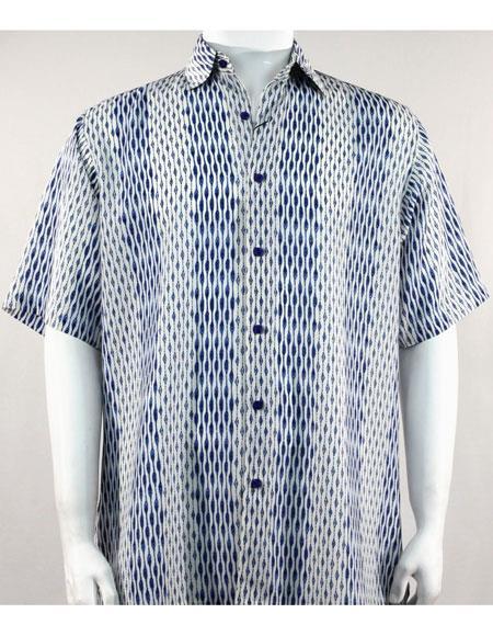Bassiri Blue/White Short Sleeve mens new pattern fashion shirt