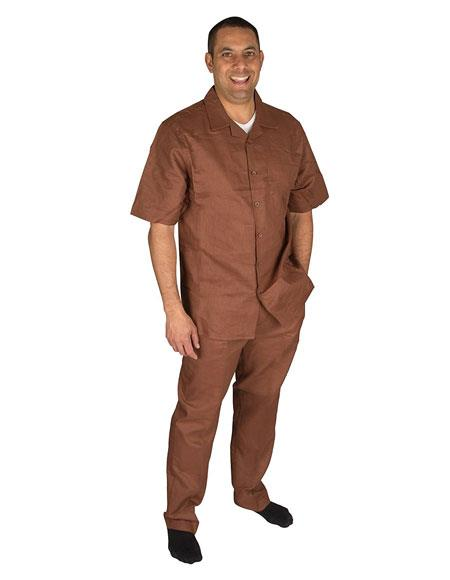 Mens Brown Short Sleeve Button Closure 100% Linen 2 Piece With Pleated Pant Shirt Walking Leisure Suit