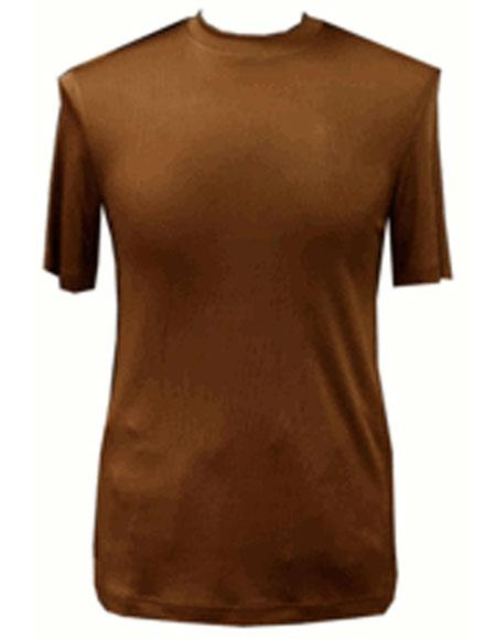 Mens Brown Classy Mock Neck Shiny Short Sleeve Shirt