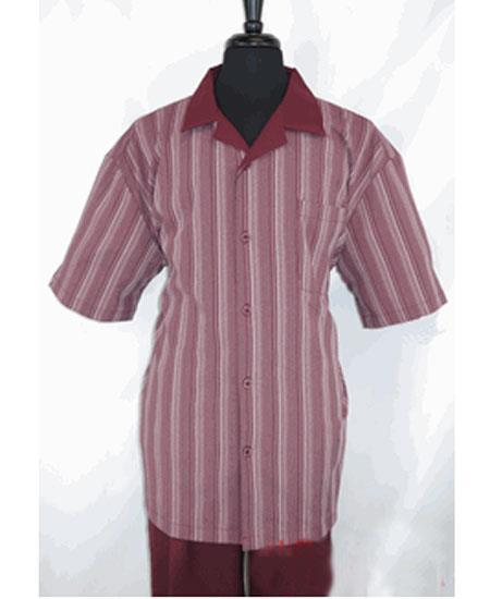 Mens 5 Buttons Stripe Pattern Short Sleeve Burgundy Shirt Walking Leisure Suit