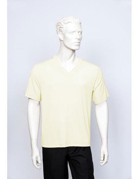 Tulliano Poly/Spandex S/SL Ribbed Crew Neck Men's V-Neck Ribbed Cream Short Sleeve