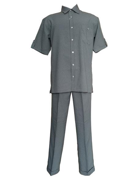 Mens Grey checkered check pattern suit Short Sleeve Shirt and Pant Leisure Set