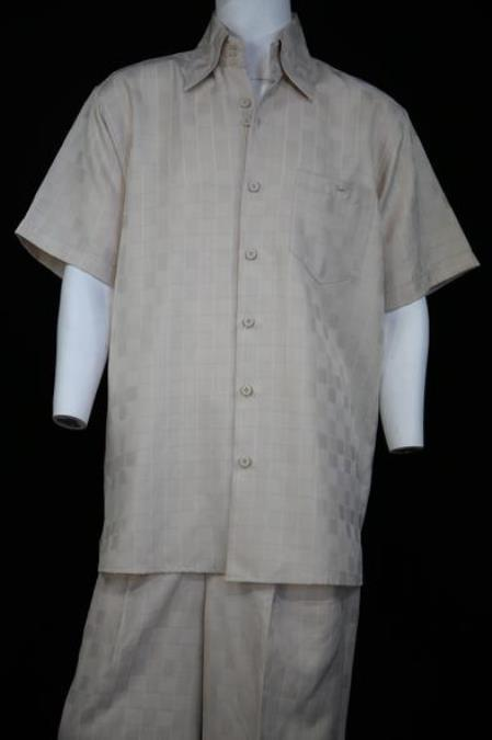 Men's Classic Gridlock Short Sleeve Ivory 2pc Zoot Suit