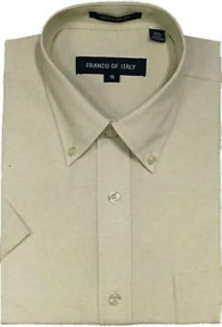 Oxford Summer Wear Basic Button Down Short Sleeve Khaki Men's Dress Shirt