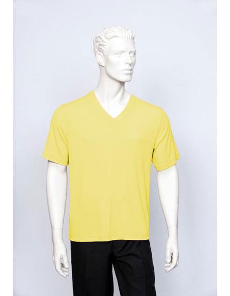 Tulliano Poly/Spandex S/SL Ribbed Crew Neck Men's V-Neck Ribbed Short Sleeve Lemon