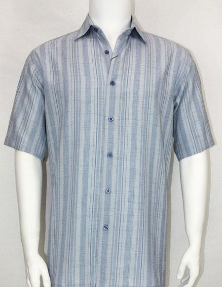 Bassiri Light Blue stripe button down Short Sleeve mens fashion shirt