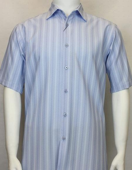 Bassiri Short Sleeve shadow stripe mens Light Blue shirt