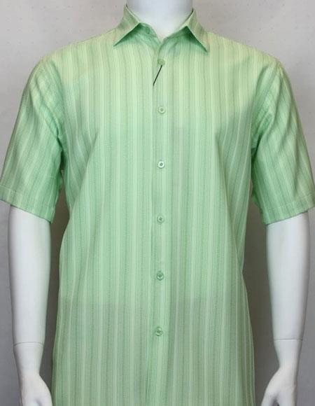 Bassiri Light Green button down Short Sleeve shadow stripe mens shirt
