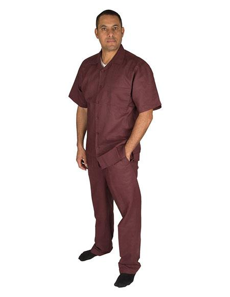 Mens Short Sleeve Button Closure 100% Linen 2 Piece Plum Shirt