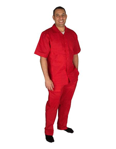 Mens Short Sleeve Button Closure 100% Linen 2 Piece Red Shirt Walking Leisure Suit