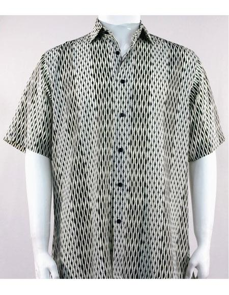 Bassiri Black Short Sleeve button down mens fashion shirt