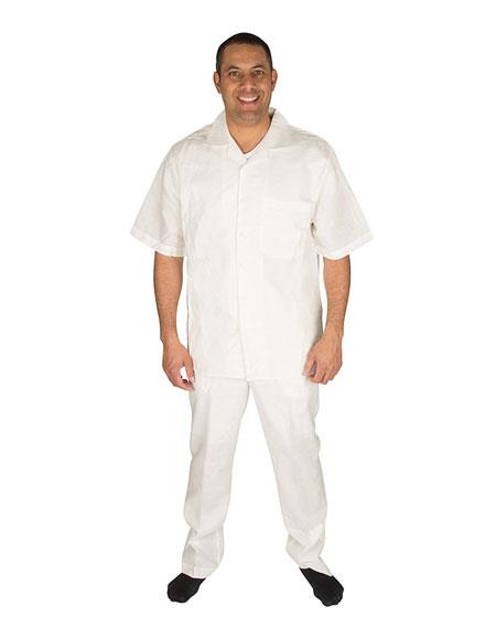 Mens Button Closure Short Sleeve Offwhite 100% Linen 2 Piece Pleated Pant Shirt