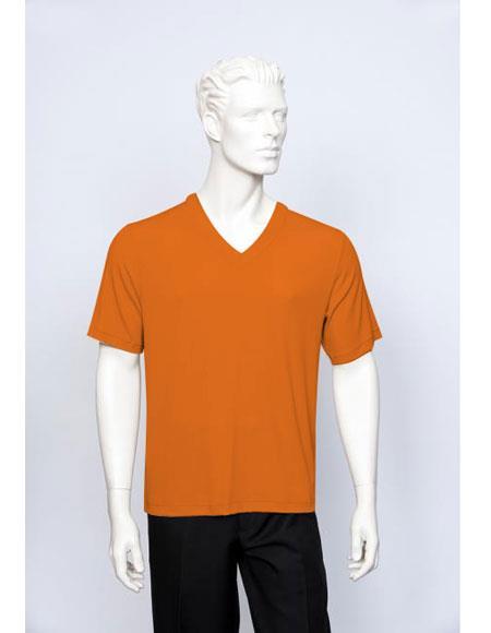 Tulliano Poly/Spandex S/SL Ribbed Crew Neck Men's V-Neck Ribbed Short Sleeve Orange