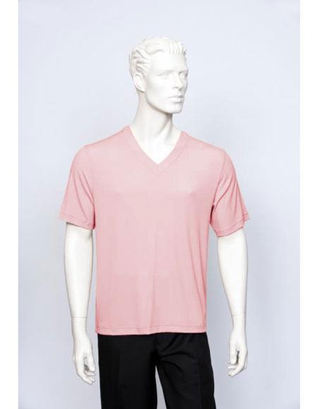 Tulliano Poly/Spandex S/SL Ribbed Crew Neck Men's V-Neck Ribbed Short Sleeve Pink