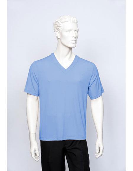 Tulliano Poly/Spandex S/SL Ribbed Crew Neck Men's V-Neck Ribbed Short Sleeve