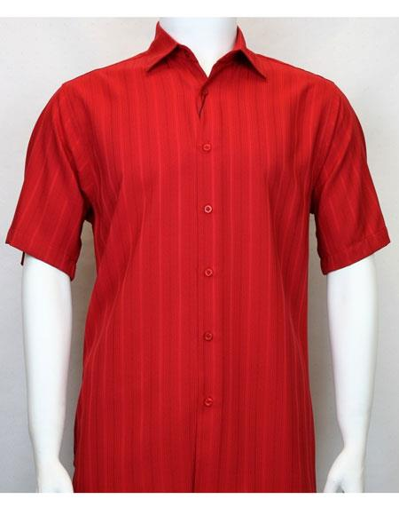 Bassiri red Short Sleeve shadow stripe mens fashion shirt