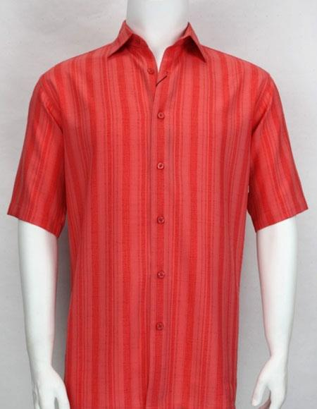 Bassiri stripe button down Short Sleeve mens fashion red shirt
