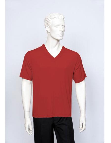 Tulliano Poly/Spandex S/SL Ribbed Crew Neck Men's V-Neck Ribbed Short Sleeve Red